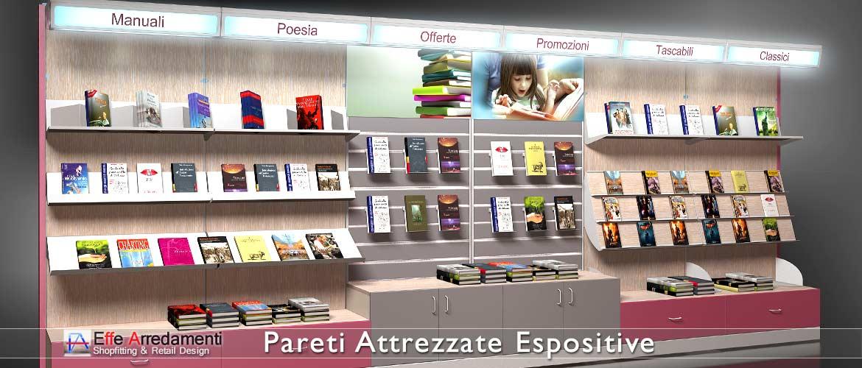 Pareti attrezzate negozi scaffali negozi effe arredamenti for Librerie pareti attrezzate