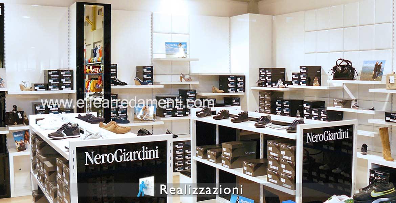 Réalisations meubles magasins - Calzature, Shoes, Pelletteria