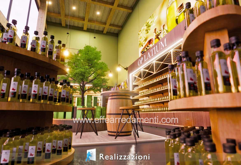 Come arredare un negozio di prodotti tipici e olio presso frantoio