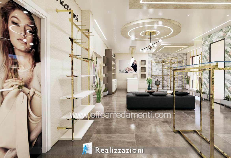 Realizzazione arredamento negozi - Abbigliamento Esempio Colori Oro e Bianco