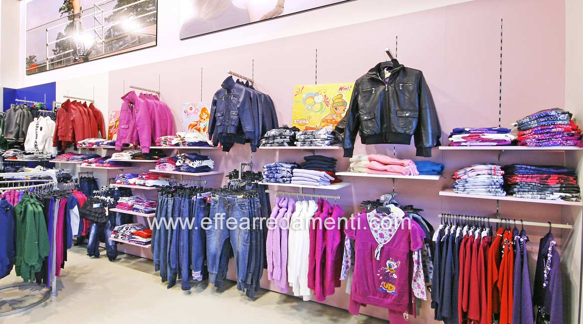 Large Equipped Wall Furniture Shop Department Clothing Young Woman Rome