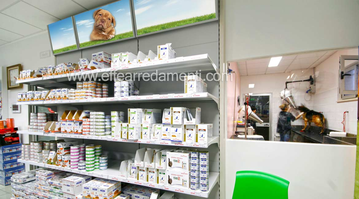 Realization shelves store animal products with grooming