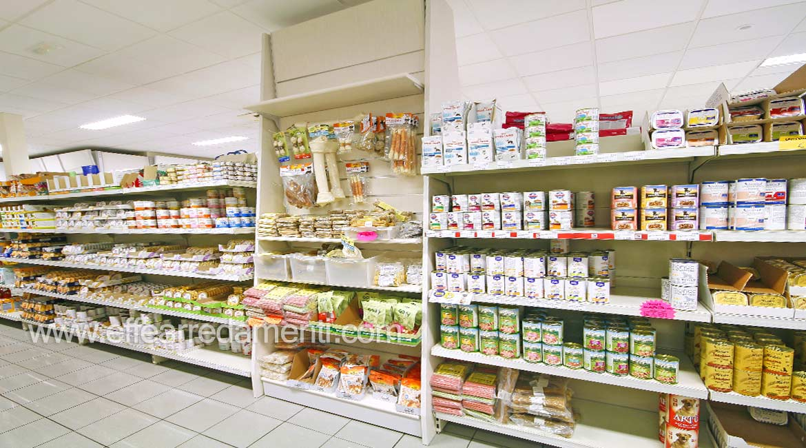 Wooden shelves store display food snack animals