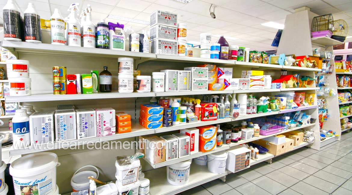 Furniture shelves display products cleaning hygiene horses