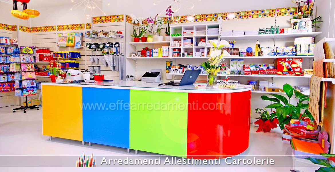 Banco furniture with modular wall system for stationery shops
