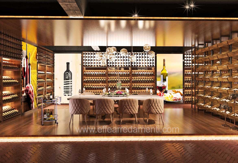 allestimento arredo cantina vino sala degustazione