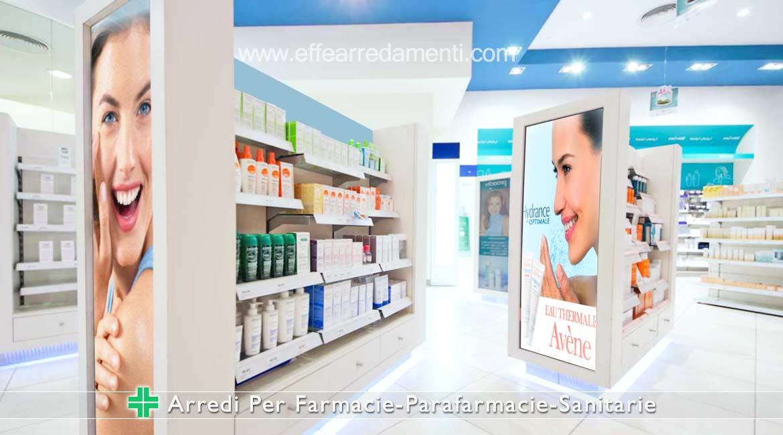 arredamento per farmacie con testate illuminate