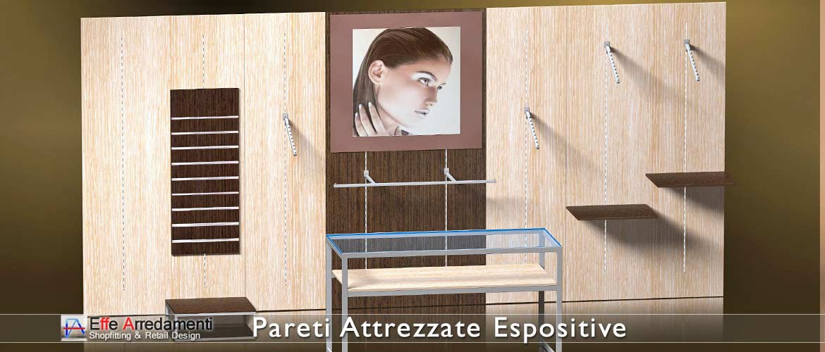 Equipped walls and wooden shelving elegant and functional, also perfect for clothing stores
