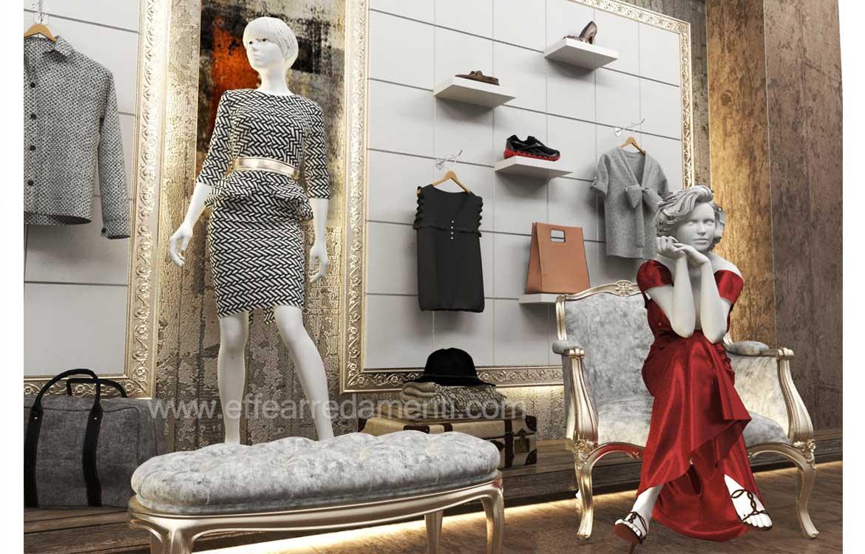 Esempio scaffali con pannellature dogate retroilluminate per negozi abbigliamento
