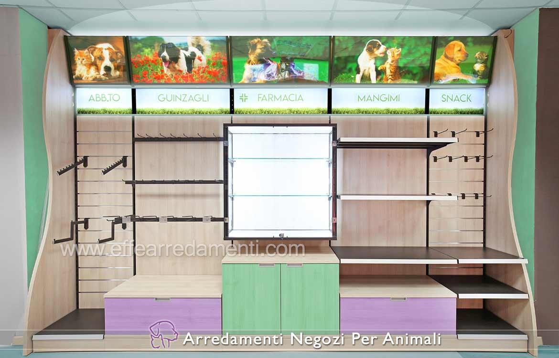 Scaffalature legno per negozi animali petshop