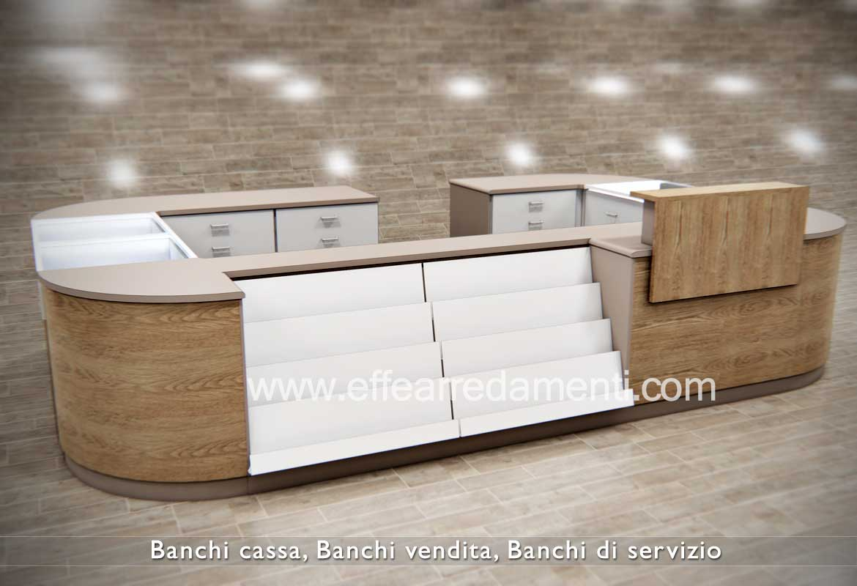 Banco Cassa modulare, completo di Gradinali per edicola e alzatina