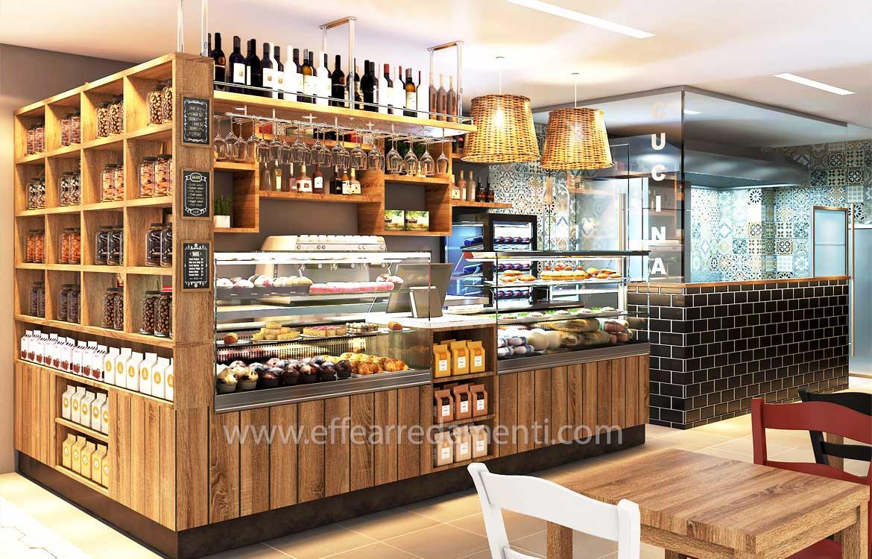 Allestimenti bar, caffetterie, ristorantini, vinerie e prodotti tipici italiani