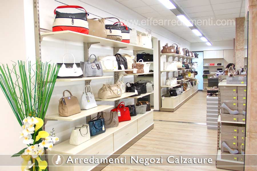 Furniture and shelves for outlet show footwear bags