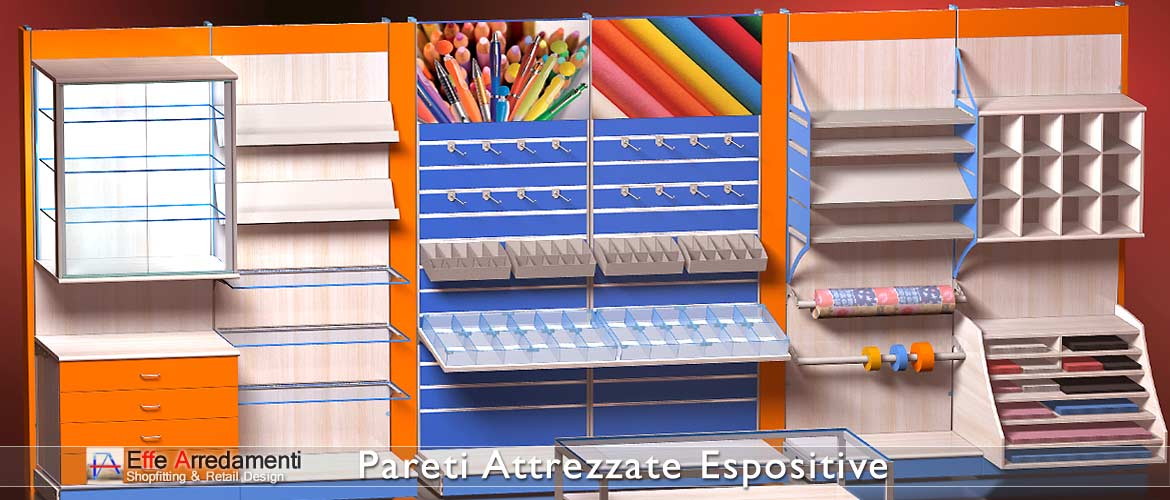Equipped walls and shelving ideal for stationery and cartolibrerie