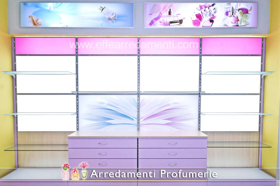Backlit equipped walls for perfumery and cosmetics