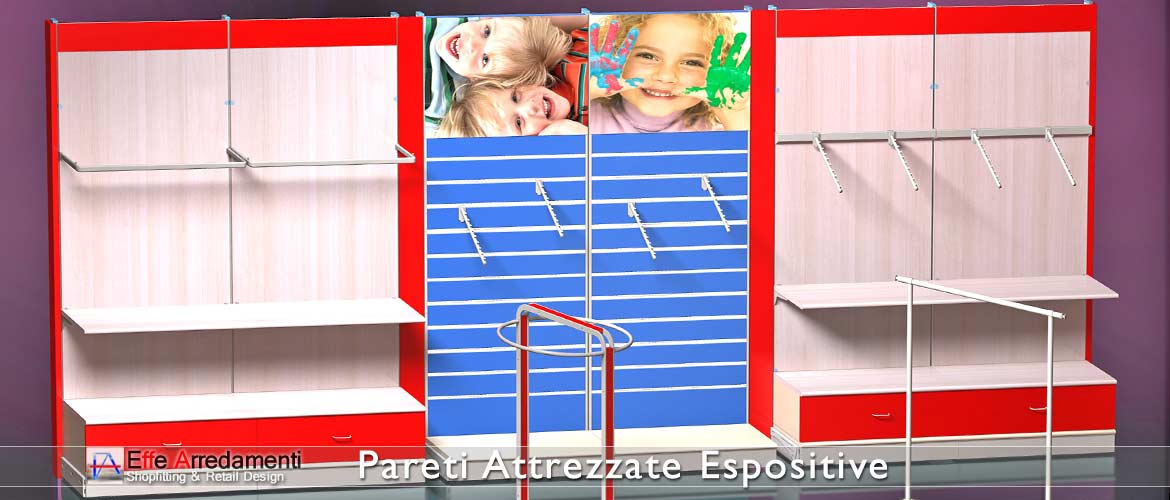 Equipped walls and shelving ideal for shops of products and clothing for children