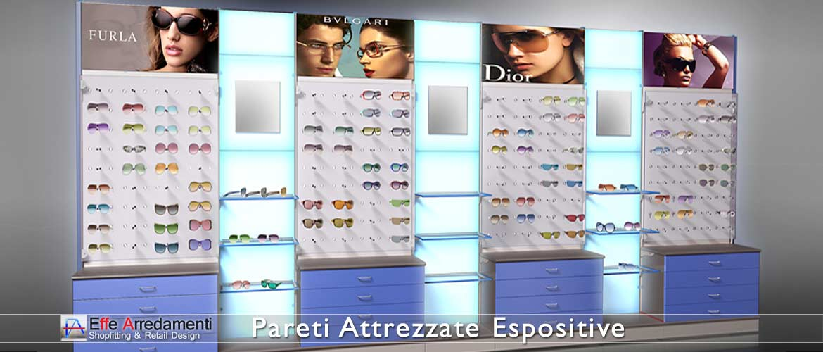 Equipped walls and shelving for optical stores, glasses display