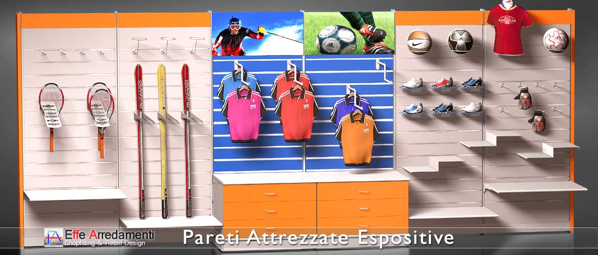 Equipped walls and shelving for sports products stores