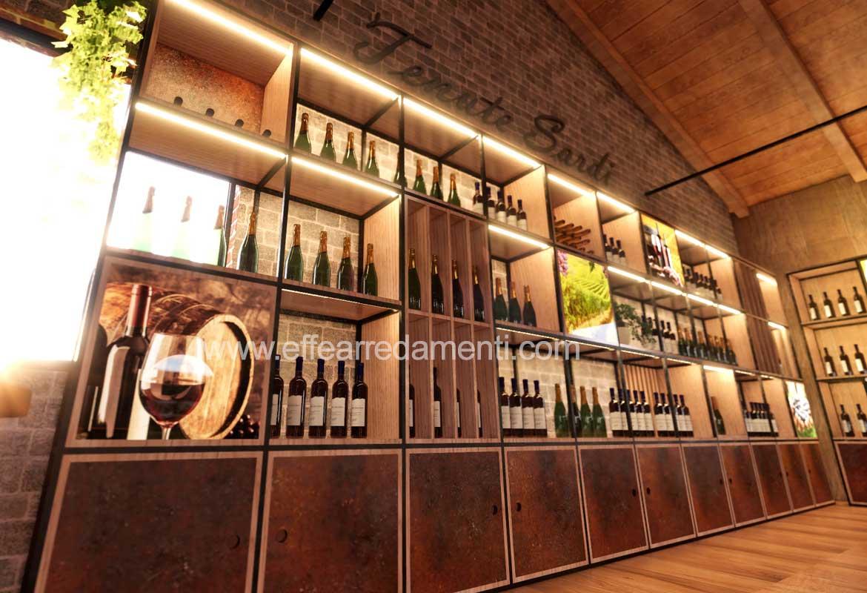 Arredamento parete design esposizione bottiglie vino prosecco