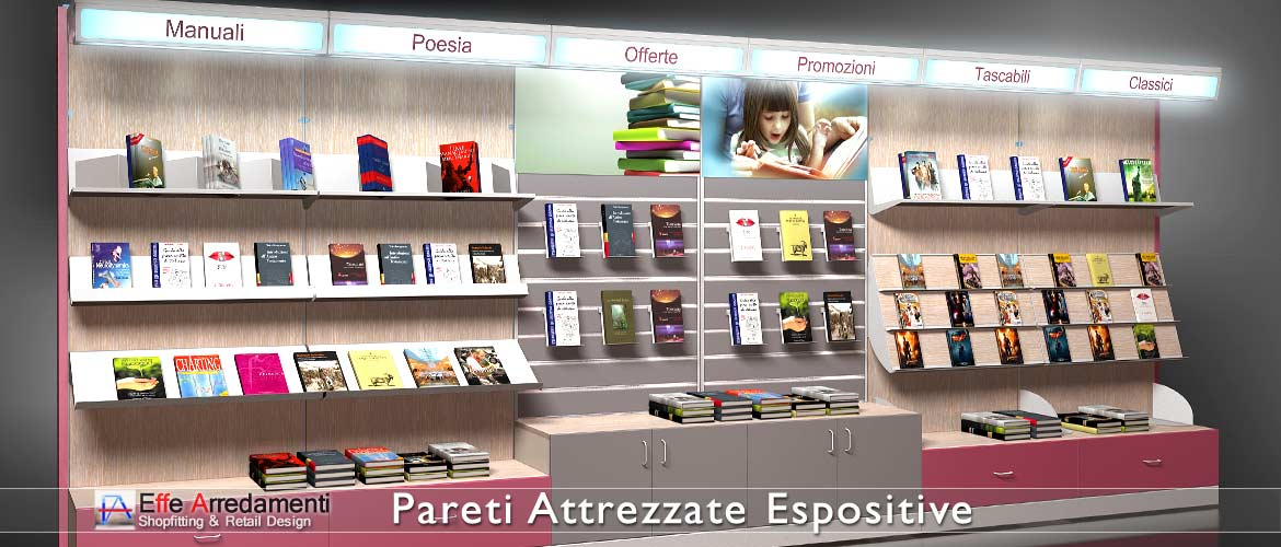 Equipped walls and shelves for the display of books, ideal for bookcases