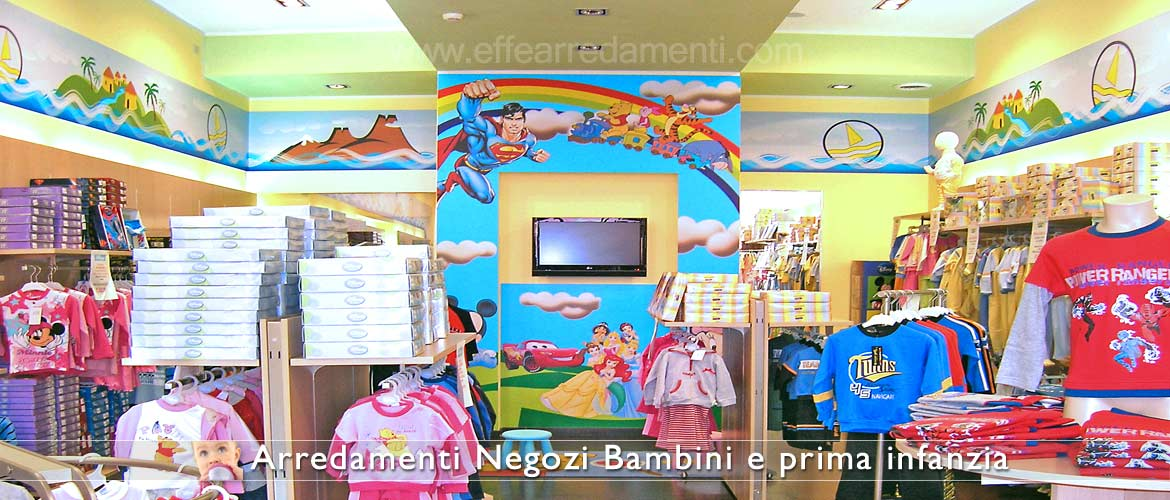 Children's store furniture with decorations and wall prints.