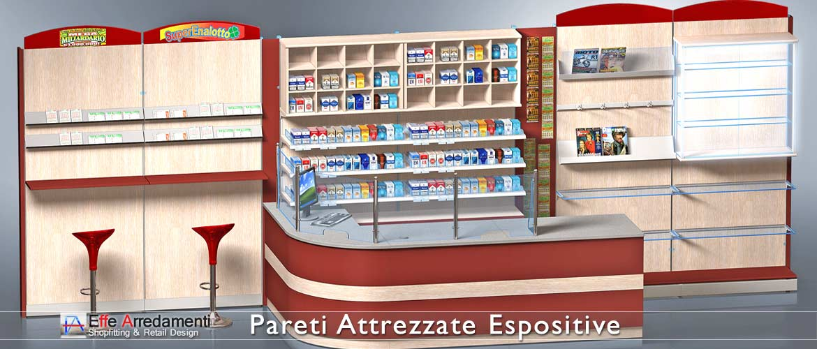 Equipped walls and wooden shelving ideal for tobacconists, receivers and newsagents