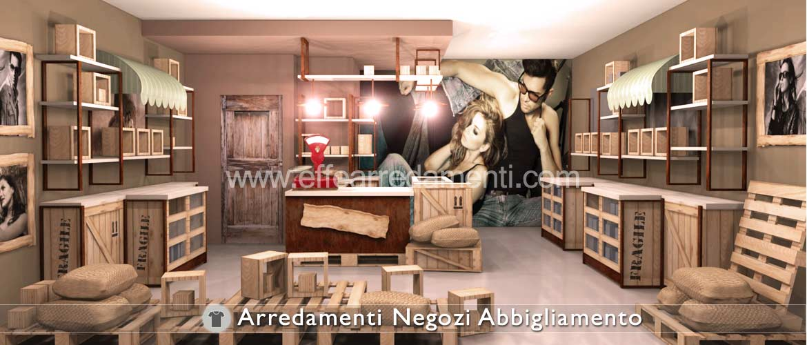 Concept of workshop design, craft workshop, for clothing store furniture