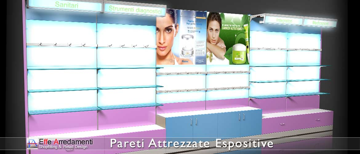 Equipped walls and wooden shelves backlit for Pharmacies, parapharmacies and health