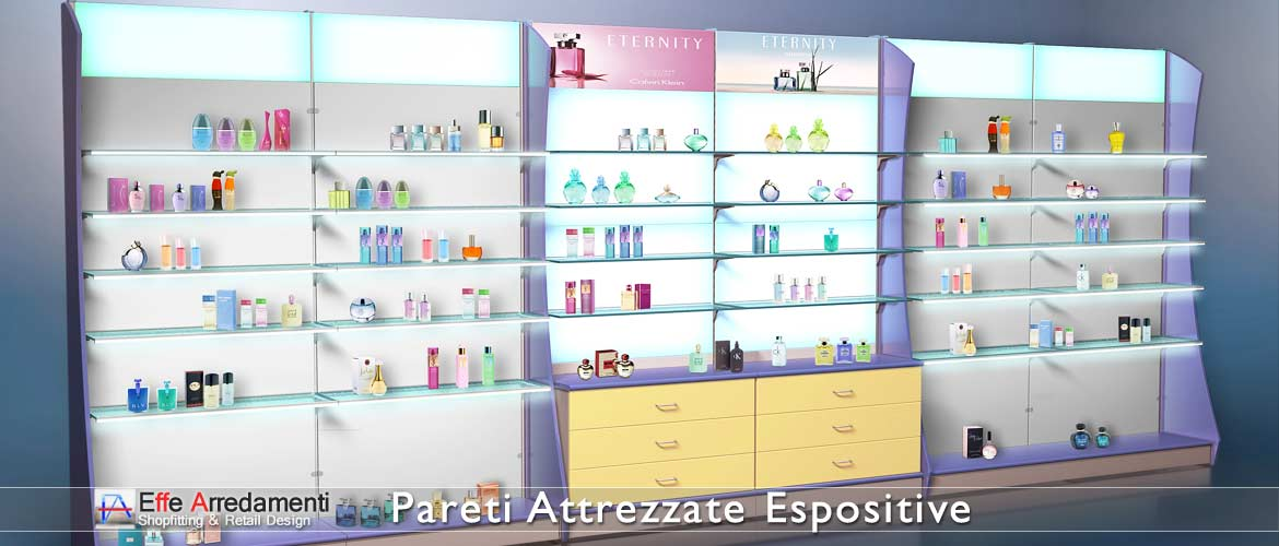 Equipped walls and shelves in wood and glass ideal for perfumeries and cosmetic products.