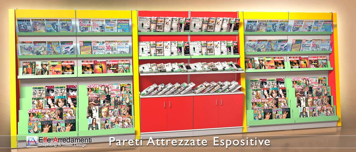 Equipped walls and shelving for Newsagents