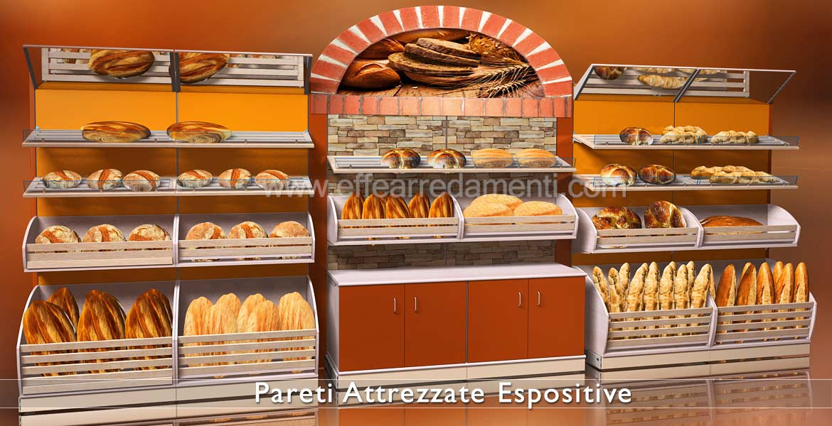 Equipped walls and wooden shelving for bakeries and food