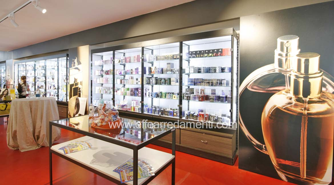 Shop furniture Perfumery area with illuminated windows Verona