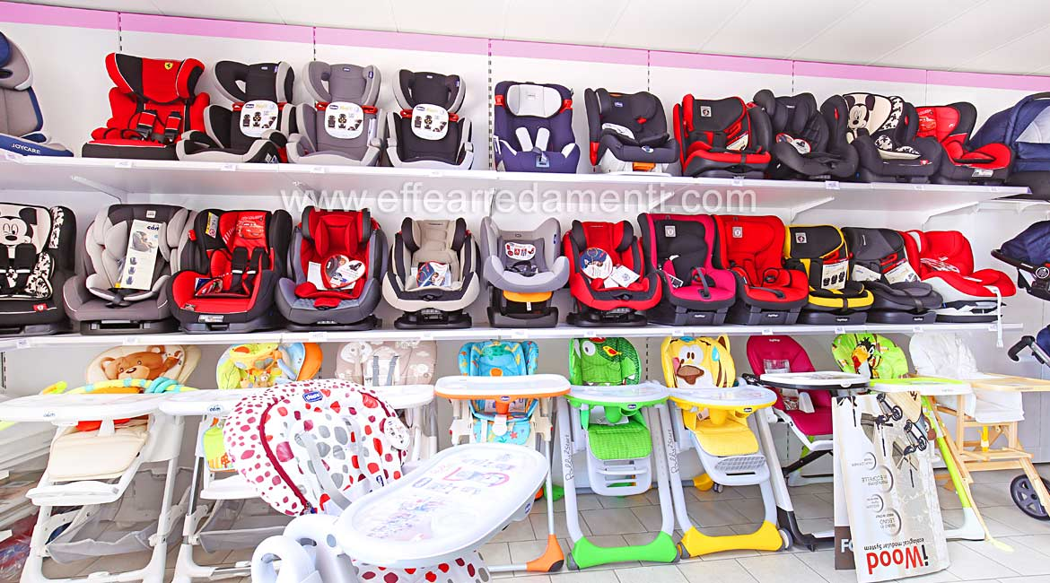 Wall Equipped for Display of Car Seats and Highchairs for the Pope