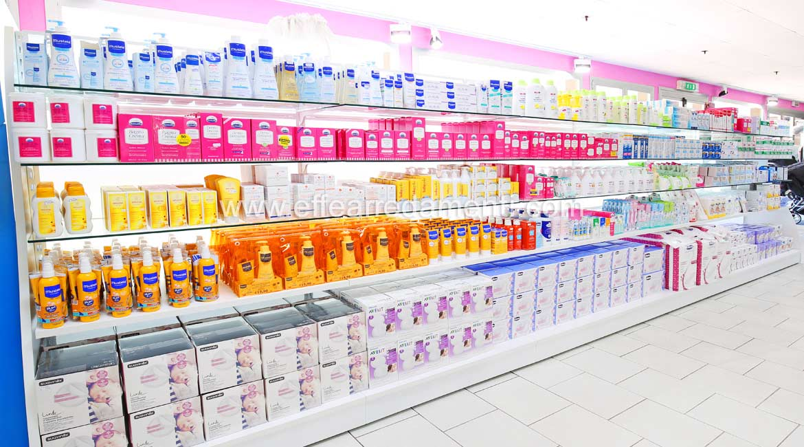 Luminous Wall for Display of hygiene products, Cleaning and Detergents for Children