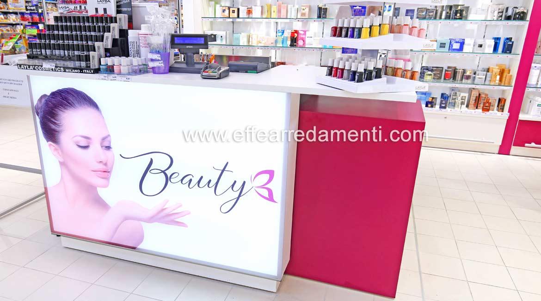 Banco di lavoro Beauty con fronte stampato luminoso