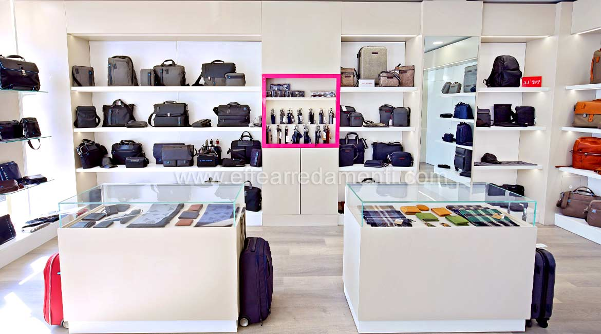 Bastia Umbra Shop Furnishings with display cases, Men's Bags and Leather Goods Shop