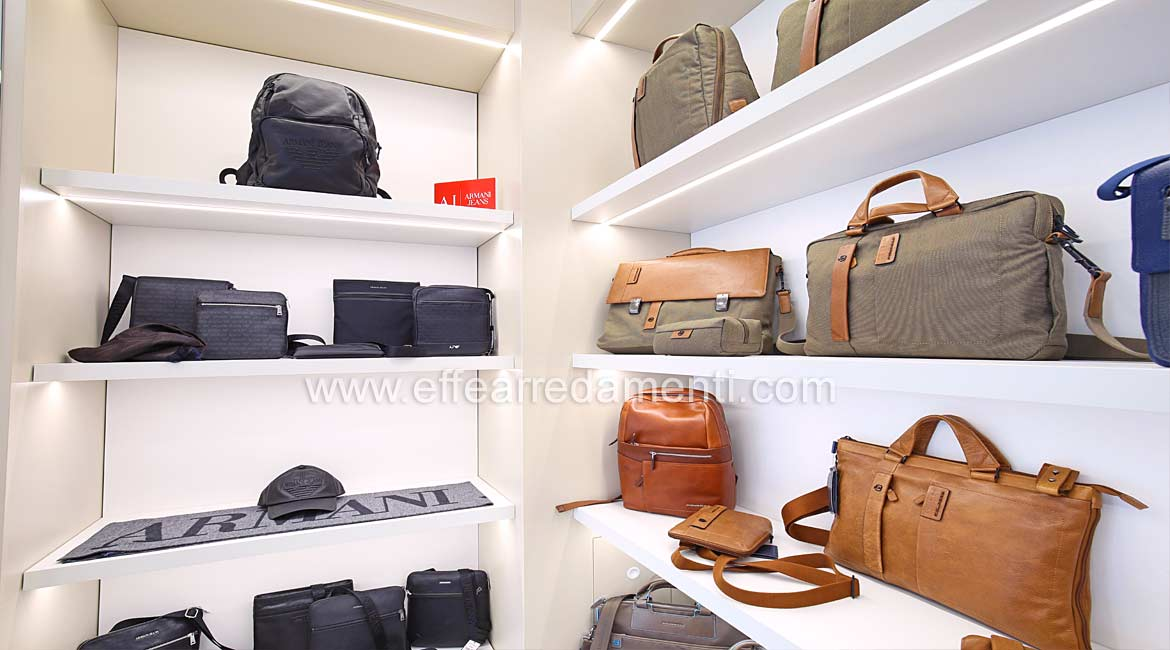 Wall Furniture with Illuminated Shelves For Exposure Man Armani and Piquadro Bags