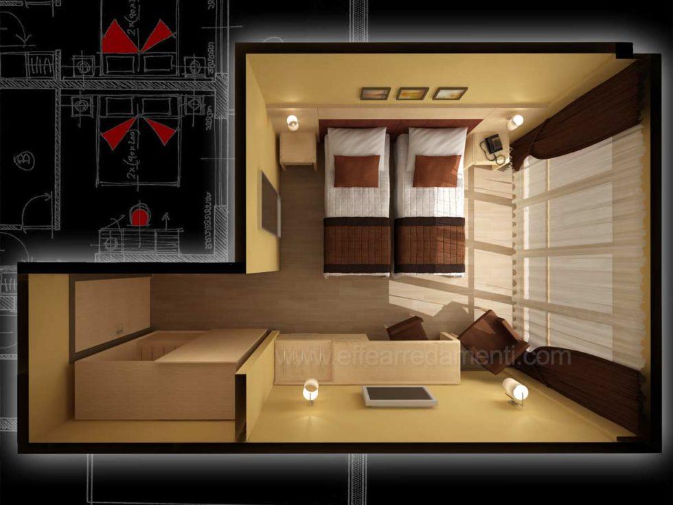 Piantina Render Progetto Camere Hotel