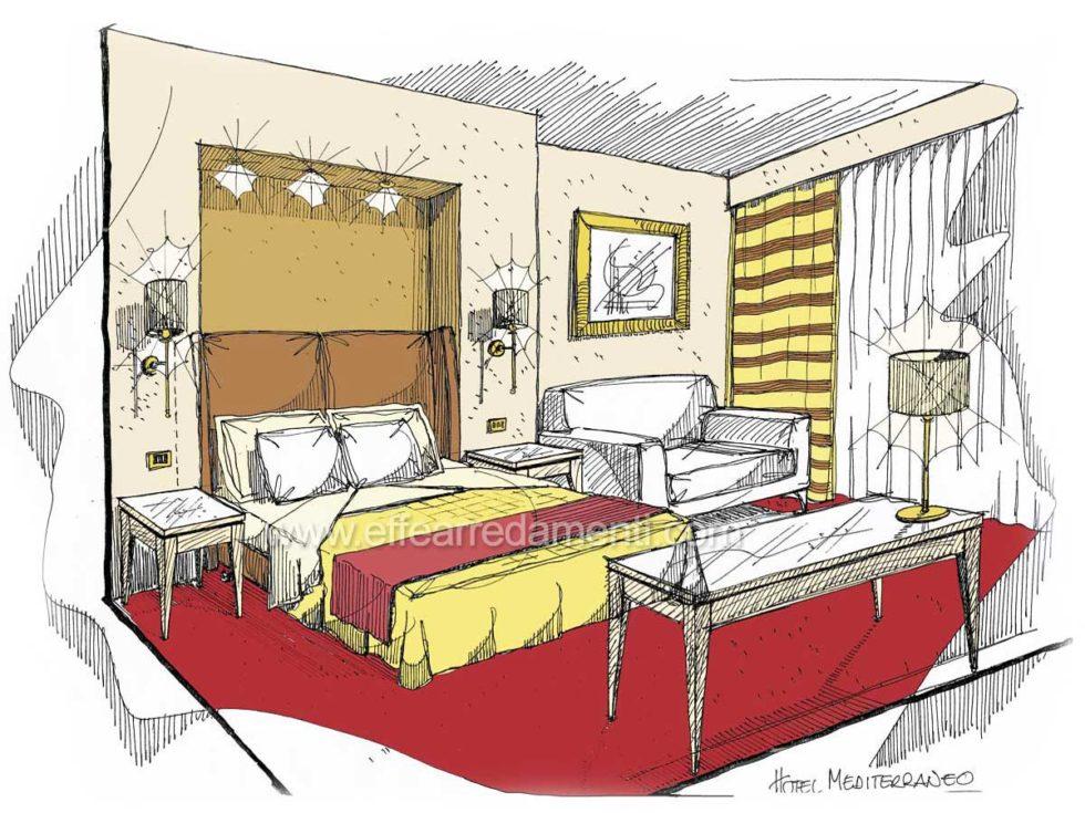 Schizzo Progetti Camere Hotel