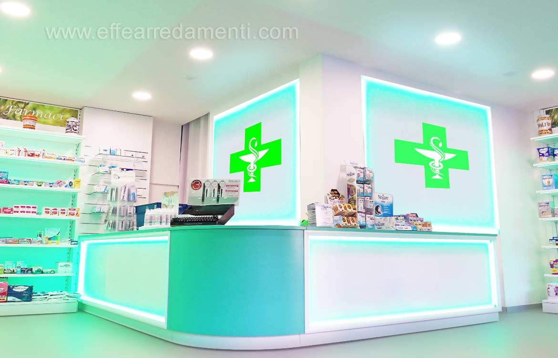 Bancone per Farmacia ad angolo con fronte luminoso