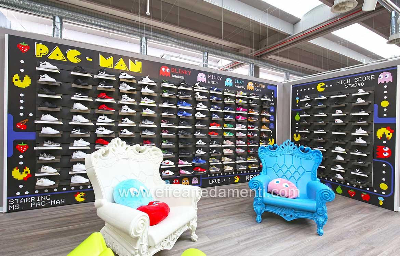 pannelli esposizione calzature bambino scenografia pacman